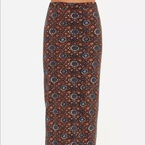 RVCA Berenice Blue & Brown Print Maxi Skirt